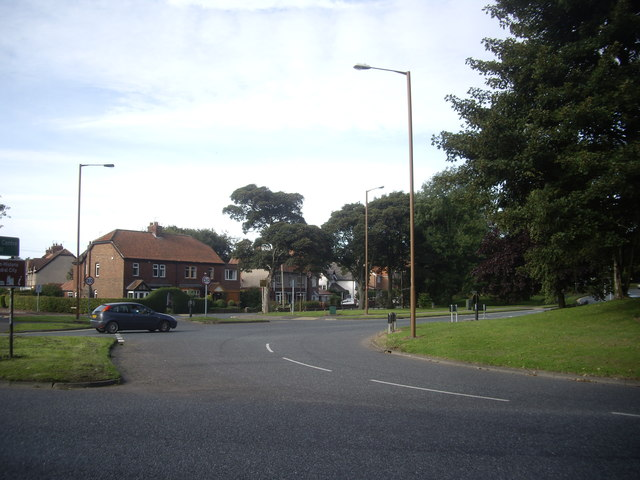 Traffic roundabout on A691 at Aykley Heads