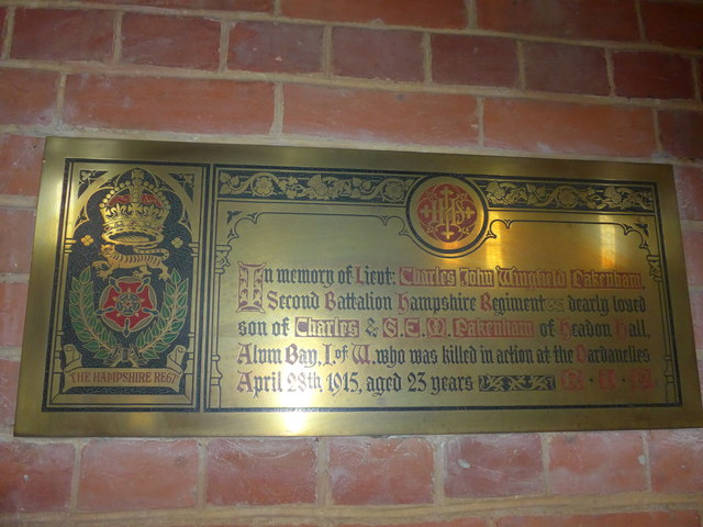 St Saviour's RC Church, Totland: memorial