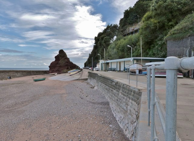 Sea wall and the Old Maid rock, Dawlish, Devon