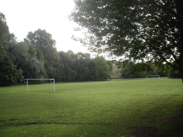 Playing field with goalposts