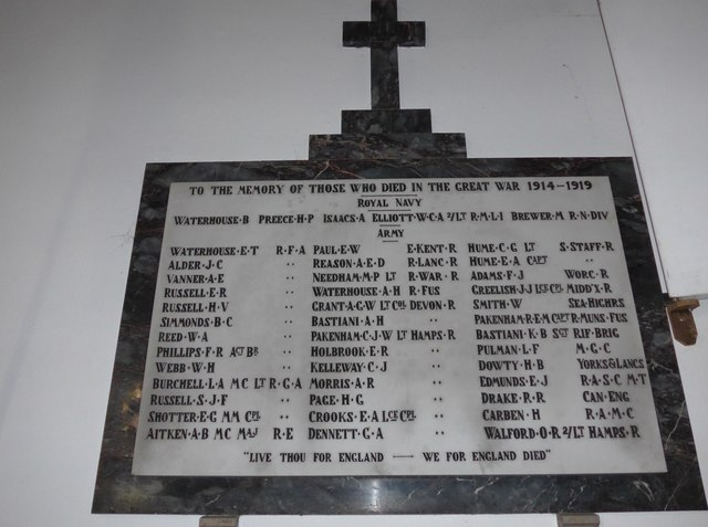 Christ Church, Totland: war memorial