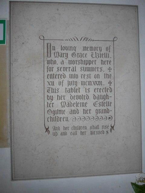 Christ Church, Totland: memorial (a)