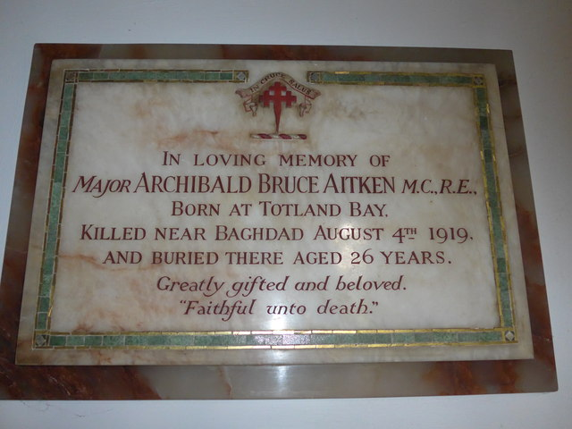 Christ Church, Totland: memorial (b)