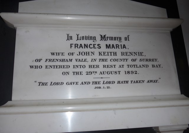 Christ Church, Totland: memorial (o)