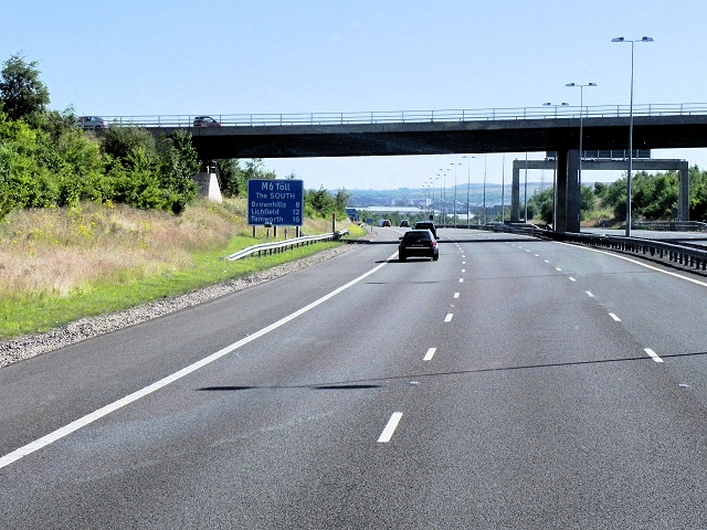 M6 Toll Road Approaching Saredon Road Bridge