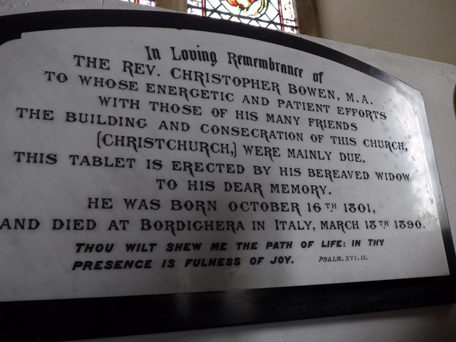 Christ Church, Totland: memorial (n)