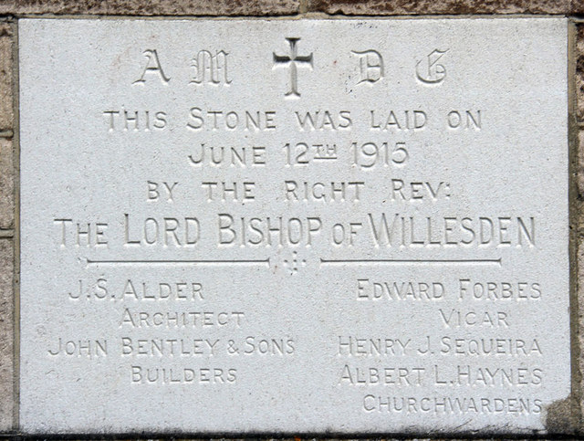 St Stephen, Bush Hill Park - Foundation stone