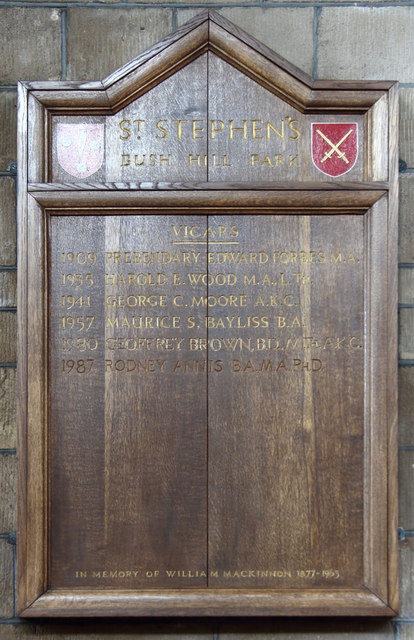 St Stephen, Bush Hill Park - Vicars Board