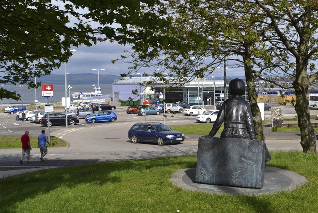 Girl on a Suitcase Statue, Railway Station and Ferry Landing Stage, Kempock Street, Gourock