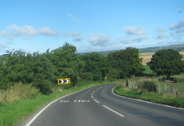Sharp bend in the B6301 at Bargate Bank