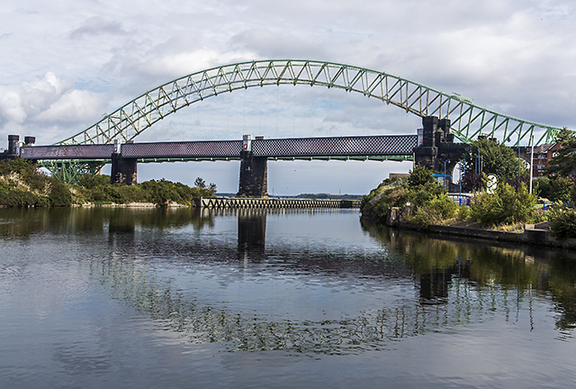 Approaching the bridges at Runcorn
