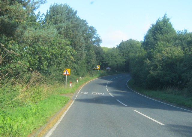 The B6301 rising from the Browney Valley towards Lanchester