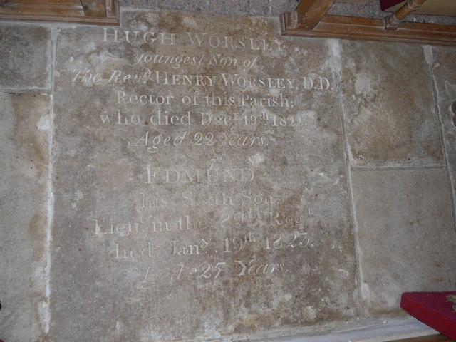 St Olave, Gatcombe: memorial (VI)