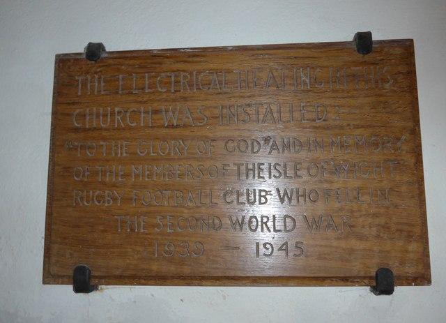 St Olave, Gatcombe: memorial (VII)