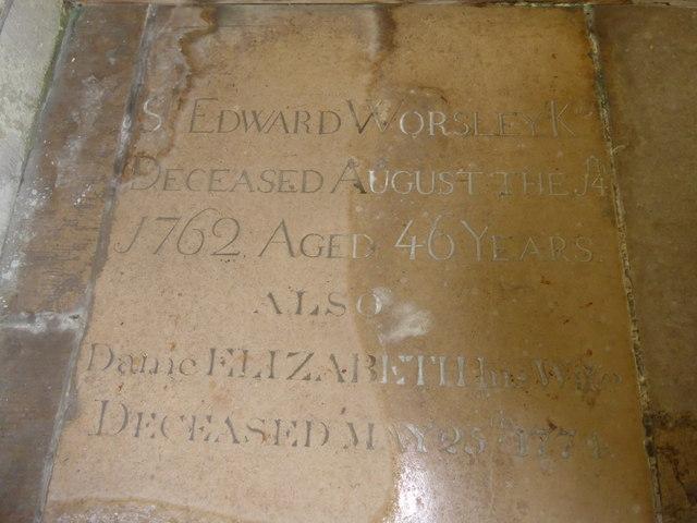 St Olave, Gatcombe: memorial (X)