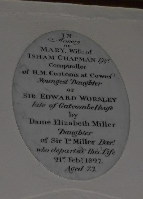 St Olave, Gatcombe: memorial (XIII)