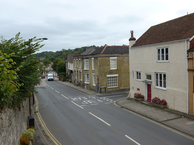 Looking down onto the High Street from the churchyard