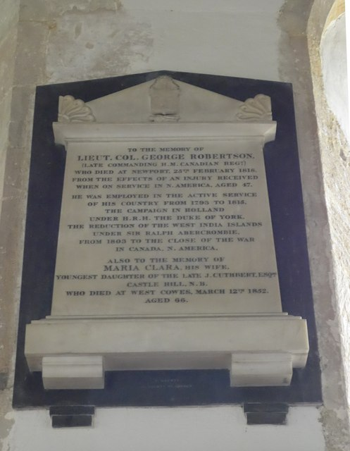 St Mary, Carisbrooke: memorial  (XV)