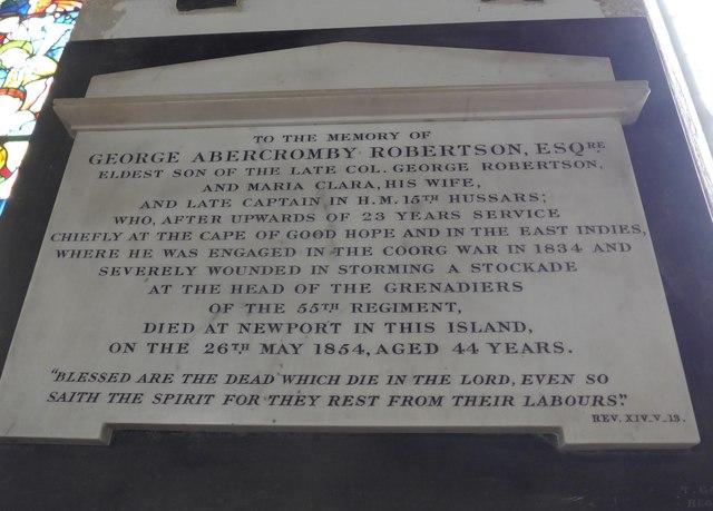 St Mary, Carisbrooke: memorial (XXI)