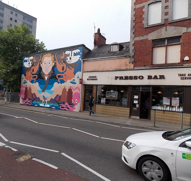 Symmetrical mural in High Street Swansea