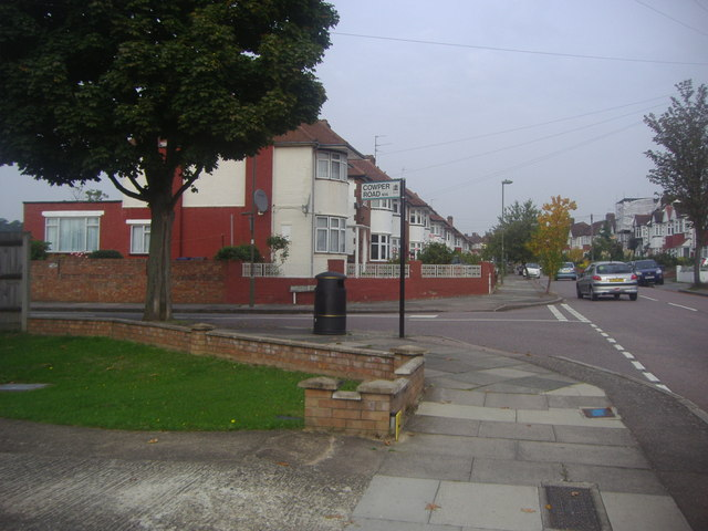 Chase Way at the junction of Cowper Road, Southgate