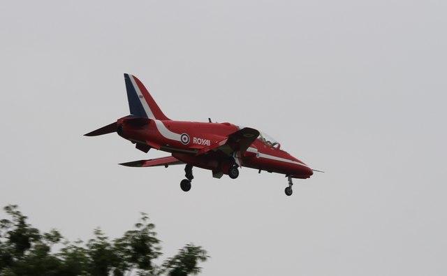 Red Arrow landing at RAF Scampton