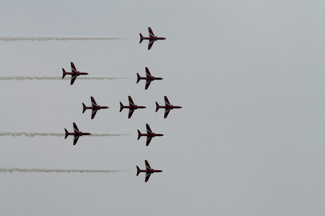 Red Arrows practising the Lancaster formation