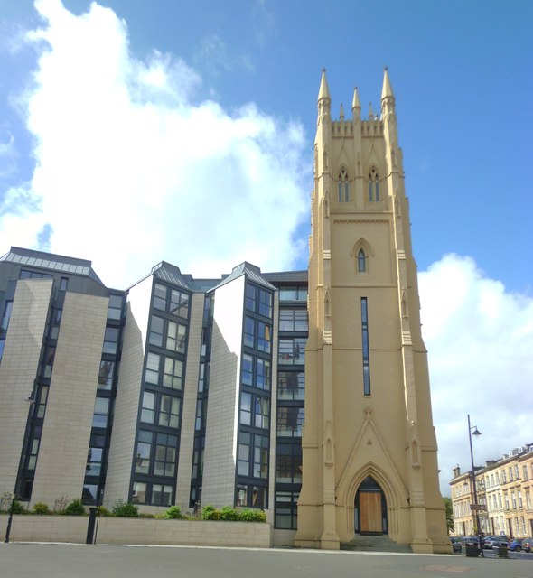 Park Church tower and apartments