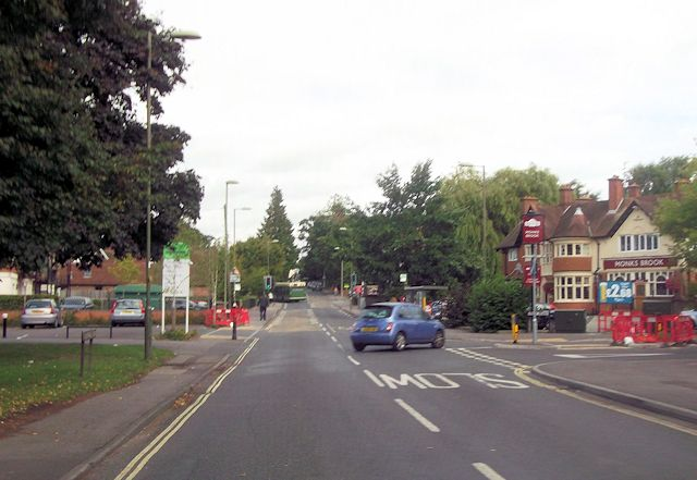 Road junction at The Monks Brook