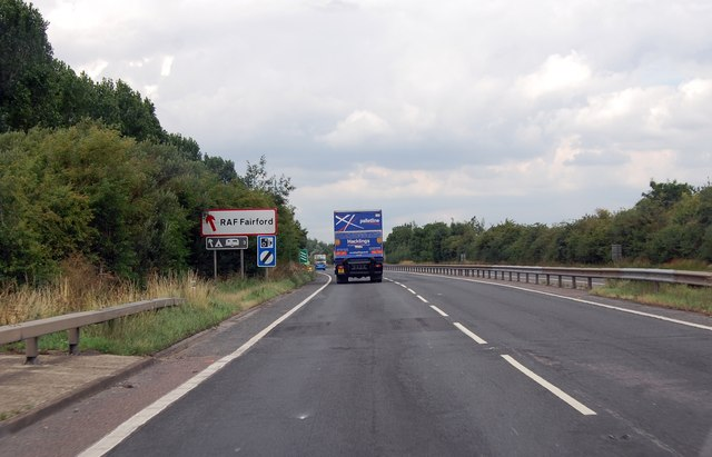 A419 approaching exit for RAF Fairford