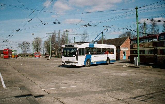 The Trolleybus Museum at Sandtoft - Marseille trolleybus 202 turning, near Sandtoft, Lincs
