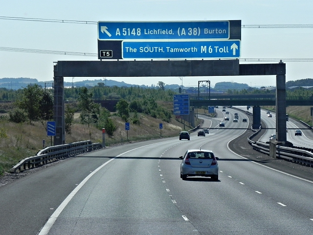 M6 Toll Road Approaching Junction T5