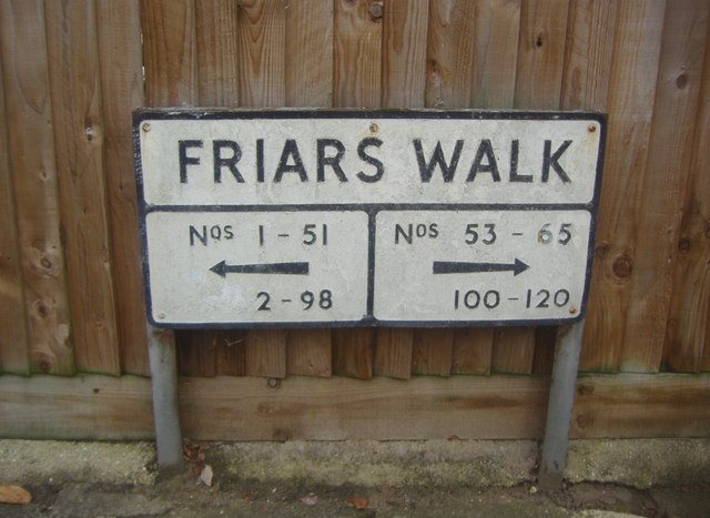 Sign for Friars Walk, including house numbers