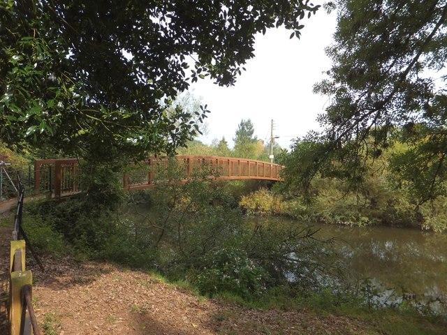 Footbridge over River Exe at Brampford Speke
