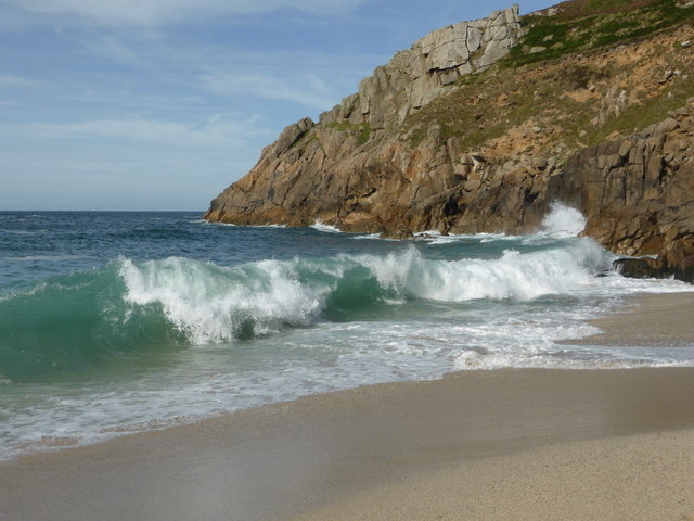 Breaking waves at Portheras Cove