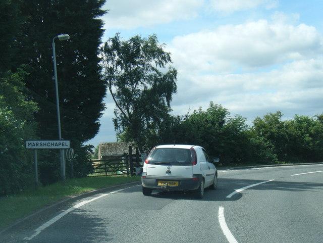 A1031 at Marshchapel village boundary
