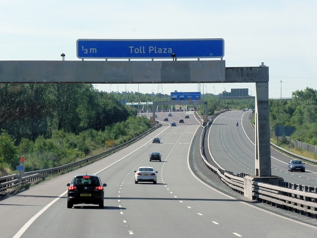 M6 Toll Road, Approaching Main Carriageway Toll Plaza, Southbound