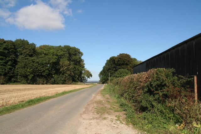 Road past High Gardham Farm through Gardham Gap and Wold Plantation