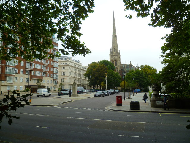 View to Spire House in Lancaster Gate from Hyde Park