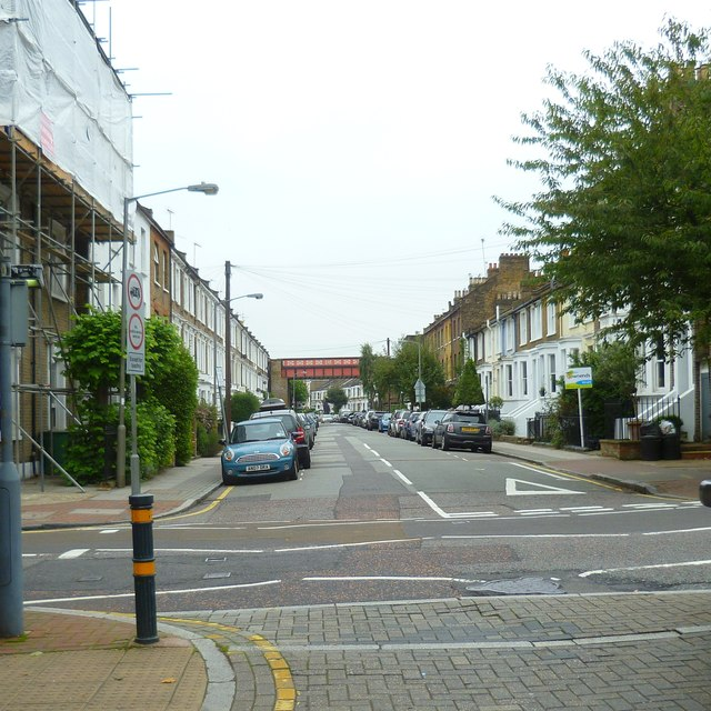 Looking east on Disraeli Road to the railway bridge