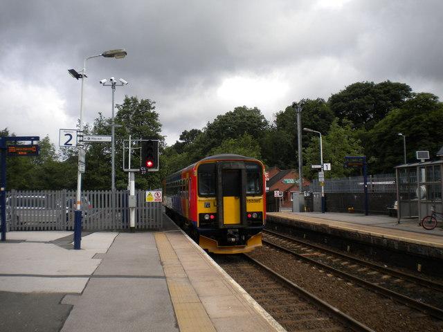 Train leaving Blythe Bridge station
