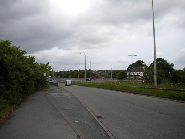 Westbound A50 access slip road, Meir Park