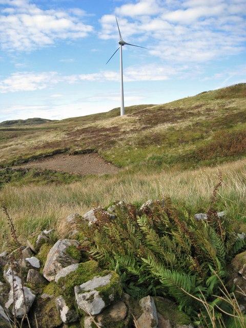 Ruin and a wind turbine