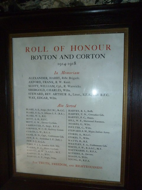 St Mary, Boyton: Roll of Honour
