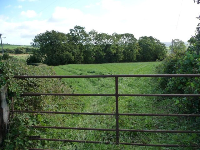 Field gate and farmland, near the parish room