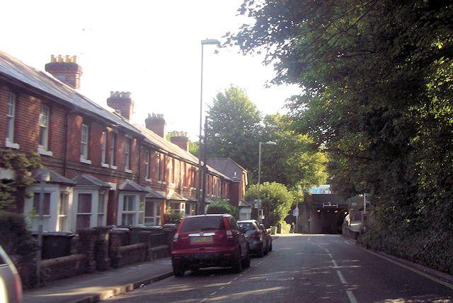 Stockbridge Road approaching railway arch