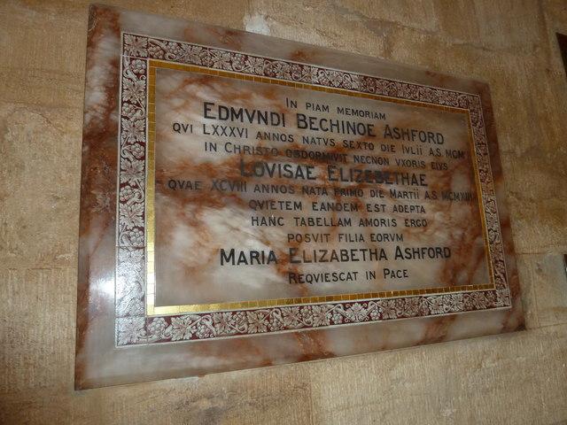 Sherborne Abbey: memorial (v)