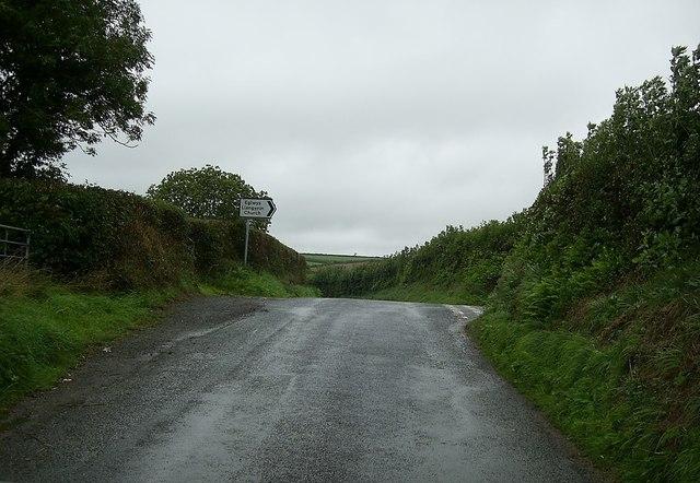 Minor road junction near Llangynin