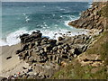 SW3835 : The rocks at the east end of Portheras Cove by David Medcalf
