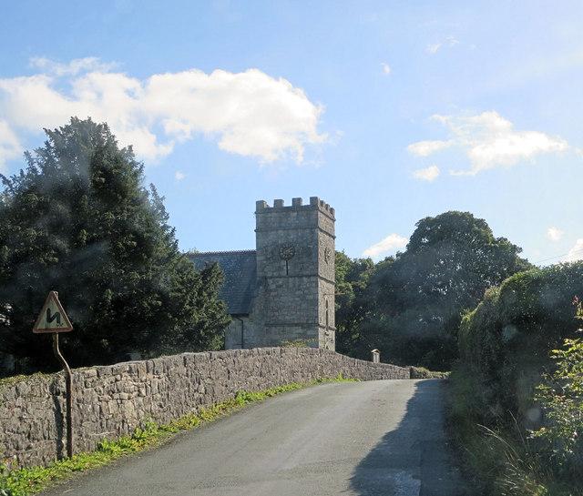 B4058 passes Rhyd-y-Croesau parish church